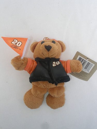 NEW Nascar Tony Stewart Racing #20 plush brown teddy bear Christmas ornament