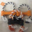 NEW Lot Halloween Large Dog Toy Rope Plastic Bone Chew Orange Black White