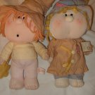 Lot 2 two vintage Fabrizio Bumpkins Patches & Other with wand and hat cloth doll