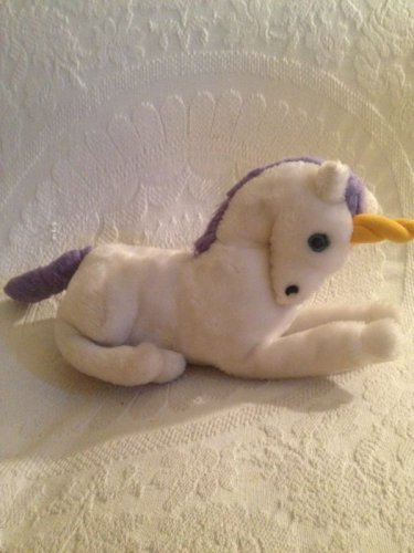 "Rare Vintage 1979 Dakin 12"" Stuffed Plush White Unicorn Purple Mane"