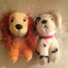 "Lot 7"" Disney Hardee's Vintage Plush Stuffed Lady Tramp & 101 Dalmatians Dog"