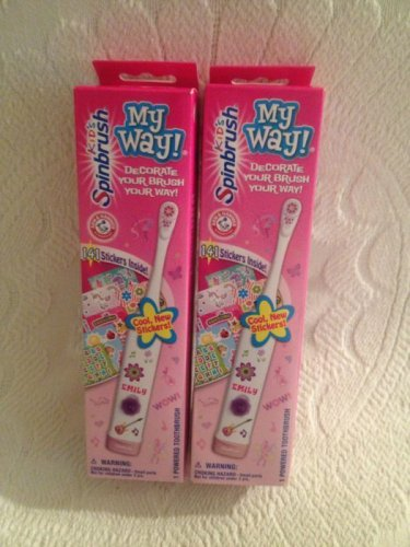 Lot Arm & Hammer Kids Spinbrush My Way Decorate Your Toothbrush W/ Stickers Girl