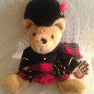 "13"" Heather Gifts Co Ltd Scotland Teddy Bear Irishman Kilt Tartan Plush Brown"
