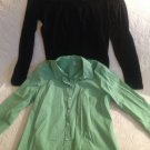 Lot Women's Shirts Small Izod Green Button Up Dress Allison Brittany Black Lace