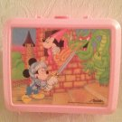 VTG 80's Aladdin Pink Plastic Lunchbox Mickey Mouse Saves Minnie From Dragon