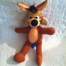 """16"""" VTG 1970's Mighty Star Looney Tunes Wile E. Coyote Plush Stuffed"""