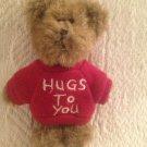 "Tiny 4"" Boyds Bears Hugs To You Red Shirt Teddy Bear Mini Plush Stuffed"
