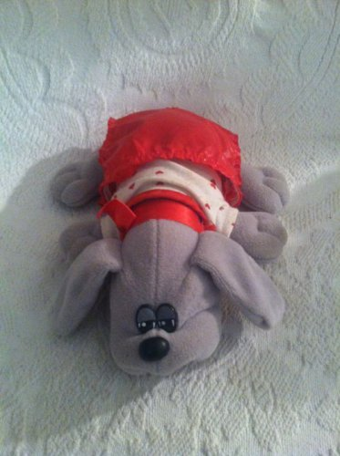 "9"" VTG 1985 Tonka Pound Puppies Grey Plush Stuffed Dog W/ Red Heart Outfit"