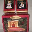 Set 3 Hallmark Bearingers Ornaments Flickering Light Fireplace, Mama, Abearnathy