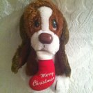 "9"" Vintage Russ Baxter Plush Stuffed Merry Christmas Stocking Dog Brown White"