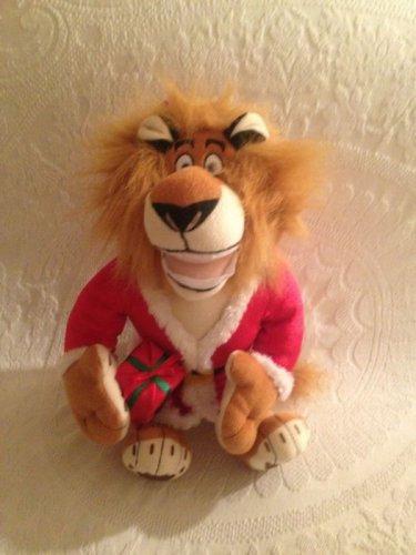 "DREAMWORKS PLUSH MERRY MADAGASCAR 15"" ALEX LION SANTA CHRISTMAS STUFFED"
