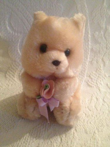 "Russ 5"" Plush Stuffed Brown Teddy Bear Holding Pink Flower Purple Ribbon"