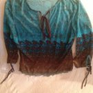 Juniors Medium A. Buyer Clubwear See-Through Blue Brown Party Shirt
