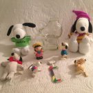 Peanuts Snoopy Lot PVC Plush Easter Metlife Joe Cool Lucy Comb Wind Up Aviator