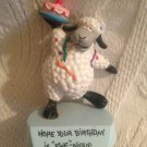 "4"" Applause PVC Trophy Hope Your Birthday Is ""Ewe""-nique Sheep Party Cake Figure"