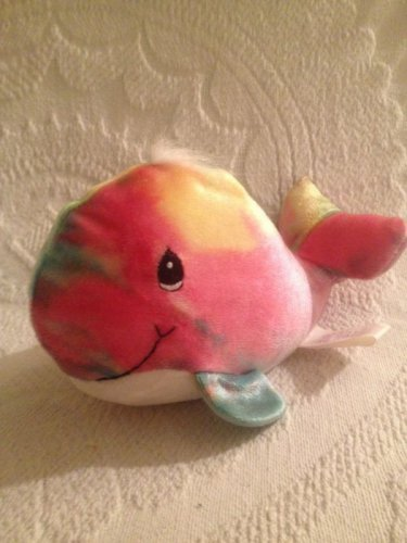 1998 Precious Moments Tender Tails Stuffed Whale Multi Color Tie Dye Plush