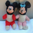 Rare Lot plush stuffed VTG Mickey Mouse Minnie Mouse Disney Vinyl