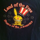Juniors Extra Large XL Hapoy Bunny 4th July Land Of Free Home Awesome Tshirt
