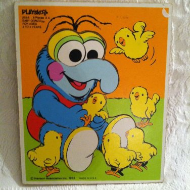 Vintage 1983 Playskool Baby Gonzo Muppet Frame Tray Puzzle With Chicks