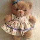 "Vintage 1987 Applause Teddy Winks Mommy Bear 13"" Floral Dress Plush Stuffed"