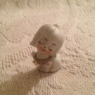"2"" Vintage Ceramic White Dog Figurine Wearing Flower Collar"