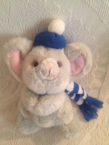 "9"" VTG Russ Rare Mikey Gray Mouse Hat Scarf Plush Stuffed Winter Wear"