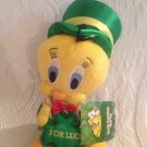 "9"" 2000 Looney Tunes Tweety Bird For Luck Leprechaun Bean Bag Plush W/ Tag"
