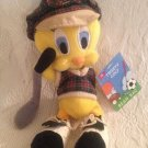"9"" 2000 Looney Tunes Tweety Bird Golf Golfer Plaid Club Bean Bag Plush W/ Tag"