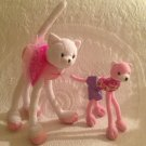 "Lot Mattel Barbie Pose Me Plush Poseable Cat 13"" & 8"" Pink White Ballerina"