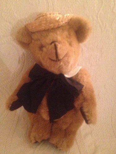 """10"""" VTG Kent School Boy Girl Bow Jointed Teddy Bear Jean Steele Plush Stuffed"""