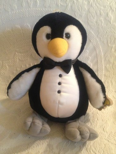 "Rare HTF VTG 1988 13"" Dakin Plush Stuffed Tuxedo Penguin With Tag"