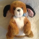 """9"""" 1994 Tyco Playtime Puppies Plush Stuffed Brown White Dog Barks & Moves"""
