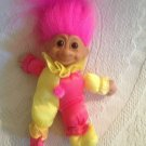 "VTG 7"" Russ Troll Kidz Pink Yellow Clown Stuffed Plush Vinyl Cloth Doll"