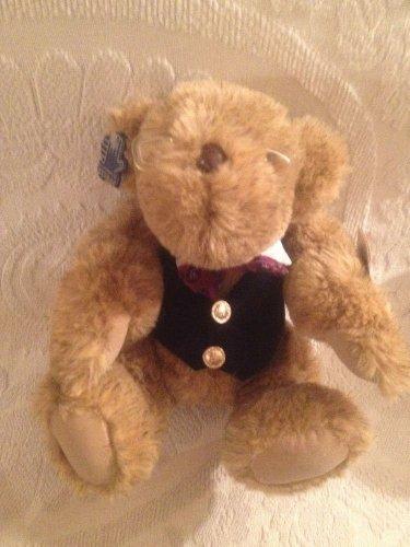 "10"" VTG 1980's Applause Plush Stuffed Virgil Teddy Bear W/ Vest Glasses Bowtie"