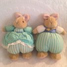 "9"" Hallmark Mr. & Mrs. Bunny Rabbit Plush Stuffed Easter Pair Green Dress"