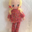 "11"" VTG Cloth Rag Doll Made Hong Kong Red Floral Dress Blonde Hair Blue Eyes"