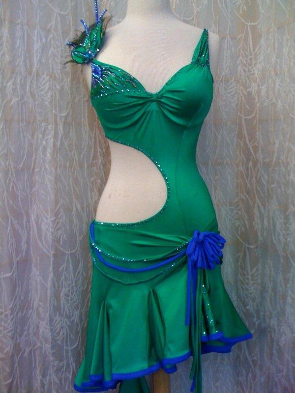 Emerald latin dance dress