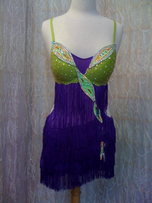 Purple  latin dance dressfor dance competitions