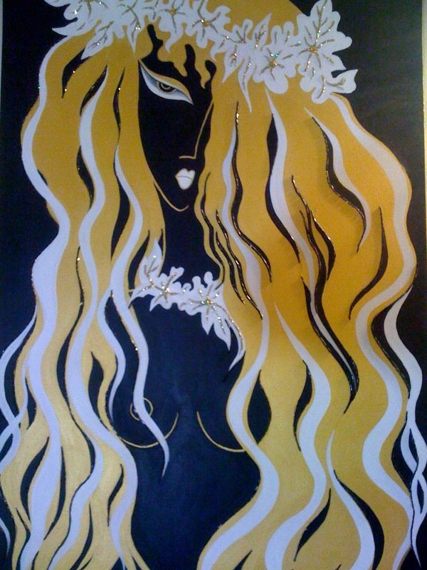 Abstract woman acrylic painting