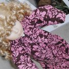 Chocolate Pink Damask Tunic Doll Dress
