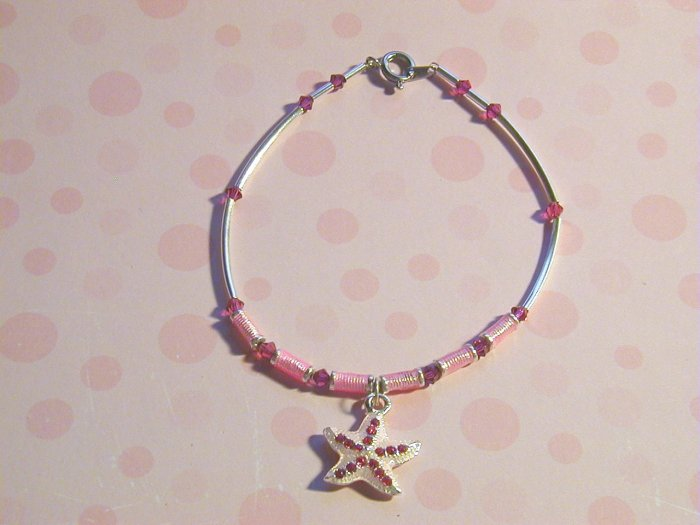 Starfish swarovski beaded anklet