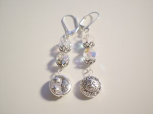 Sun and Moon swarovski crystal dangle earrings
