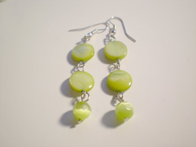 Lime green shell and cats eye earrings