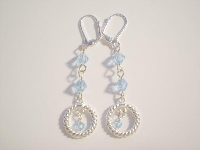 Aqua blue Swarovski silver dangle earrings