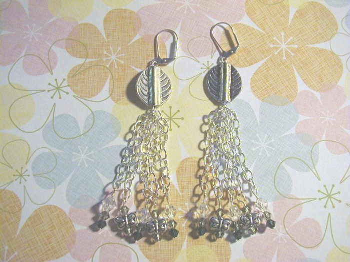 Silver leaf dangle earrings