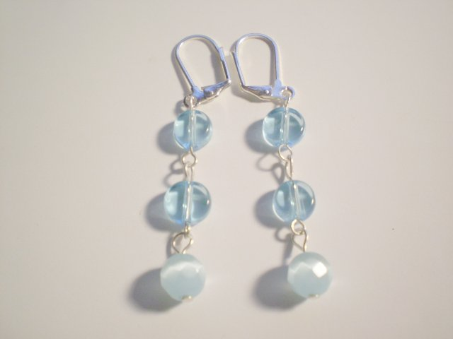 Blue glass and catseye earrings