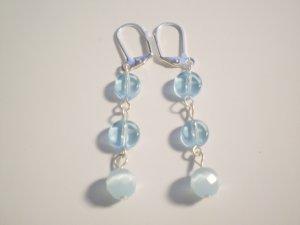 Blue glass and catseye earrings