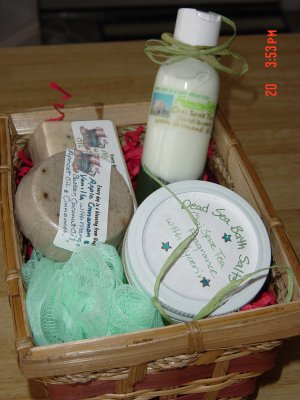 GIFT BASKET/BASKETS  WITH HANDMADE SOAPS AND SALTS - 4 ITEMS YOUR CHOICE