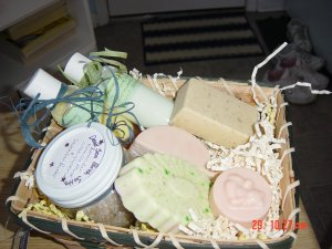 GIFT BASKET/BASKETS  WITH HANDMADE SOAPS AND SALTS - 6 ITEMS YOUR CHOICE