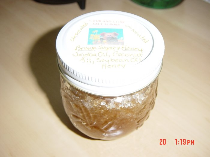 UNSCENTED BROWN SUGAR AND HONEY DEAD SEA SALT SCRUBS-8oz. Jar